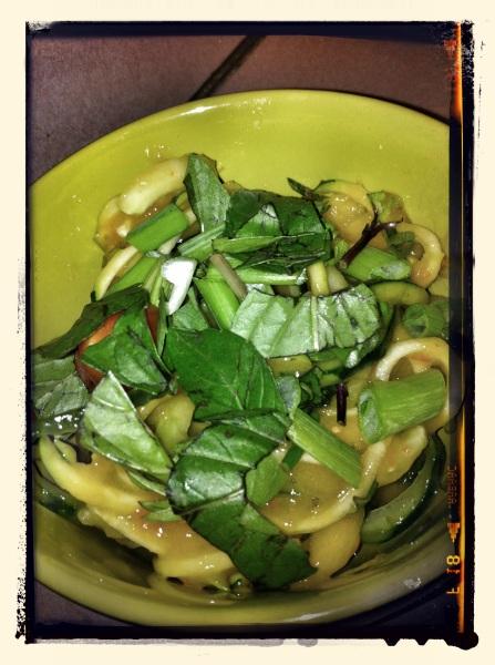 Mango Thai Basil Sauce over Veggie Noodles