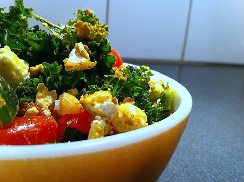 Curried Feta Kale Salad