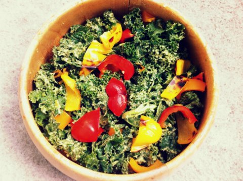 Kale Salad with Roasted Peppers and Garlic Avocado Cream2 (1)